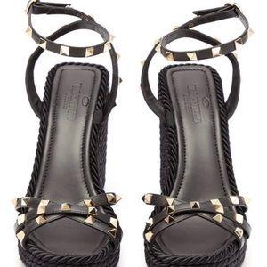 Valentino Shoes - Valentino Rockstud Wedge Sandals   BLACK—Size 10